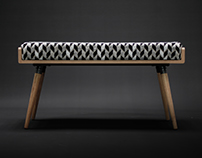 Oak bench with arrows cushion fabric