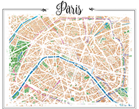 Watercolor map of Paris