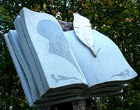 Memorable sign to M. Bulgakov, granite, marble, 2009