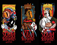 Scram Skateboards Brickface X Slashers series