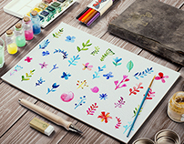 Watercolor decoration flowers