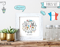 Tavel collection of cute cartoon Paris symbols!