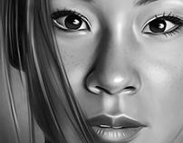 Lucy Liu Digital Oil Painting by Wayne Flint