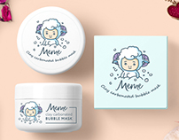 Package design of cosmetic «Meme» - clay carbonated bub