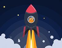 Rocket Cat- ilustrace
