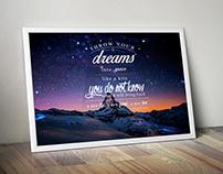 Starry Night Sky Mountain Digital Typography Art Print