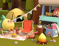 Mr Strawberry & Friends go camping