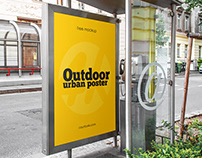 Free Outdoor Urban Poster PSD MockUp in 4k