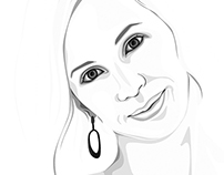 Female drawing portrait from photo.