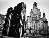 Monument. Installation by Manaf Halbouni. Dresden 2017