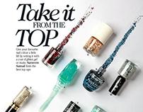 Glittery top coats nail paints