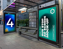 Milan Bus Stop Advertising Screen Mock-Ups 8 (v2)