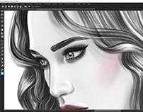 Fashion Illustration, Drawing Head, Work in Progress