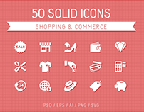 50 Shopping & Commerce Solid Icons