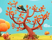 illustration d'automne - Autumn illustration 3D