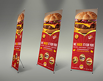 Burger Restaurant Roll Up Signage Template Vol.6