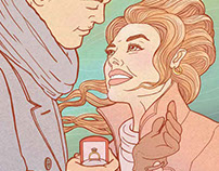 Magazine article illustration about proposal and weddin