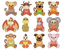 Chinese horoscope. Cartoon animals