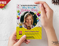 Kids Birthday Invitation Card with Photo PSD
