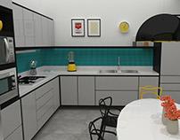 Cozinha residencial espaçosa