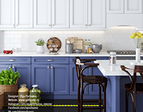 Yellow stripe | Blue&white contemporary kitchen