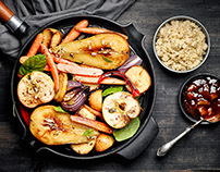 Roasted fruits and vegetables. Variations