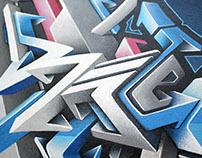 Acrylique et Spray sur toile 90/45 Smer one prod 2015