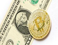 Bitcoin and a dollar bill
