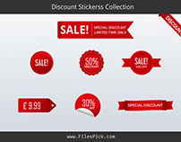 Red Discount Stickers Collection Customizable