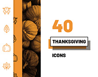 40 Thanksgiving Icons - Lined & Filled