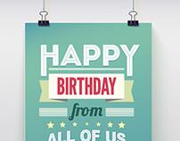 Happy Birthday Vector Posters Set