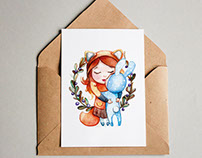 Postcards and cups with watercolor print