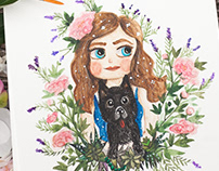 Custom watercolor portrait with dog in watercolor