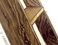 Wooden staircase drawing by hand