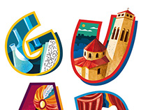 Welcome to Igualada giant poster – Illustrated letters