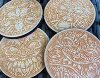 Tiki Laser Engraved Wood Coasters