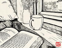 make a cup of tea, read a book, watching or drawing.
