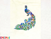 SUBTLE AND VIBRANT PEACOCK EMBROIDERY DESIGN