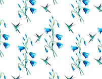 Fabric pattern #1 — bluebells and hummingbirds