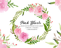 Free Pink Blush Watercolor Cliparts