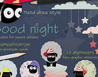 Good night Collection. Sweet dreams. Creative Market.