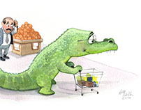 A crocodile in the grocery store