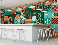 CoffeeHouse Wall Illustration