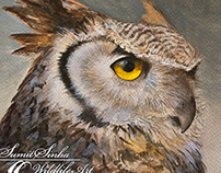 Watercolour Painting of Indian Eagle Owl