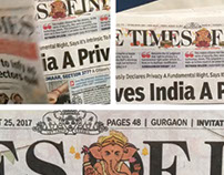 The Times Of India - Masthead Design
