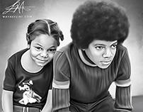 Michael & Janet Jackson Digital Art by Wayne Flint