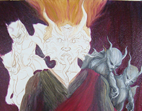 Moloch ( Thaumiel) - oil painting in process -