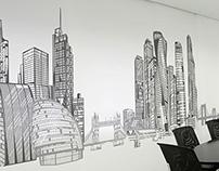 Панорамная иллюстрация в офис Ренессанс Страхование