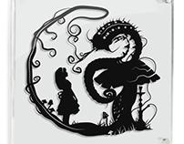 Alice & Caterpillar - hand cut paper