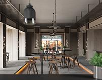 Industrial cafe 3D-Visualization&Design